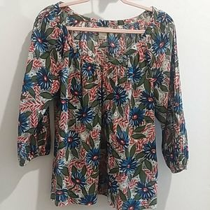 Lucky brand floral 100% cotton semi sheer blouse